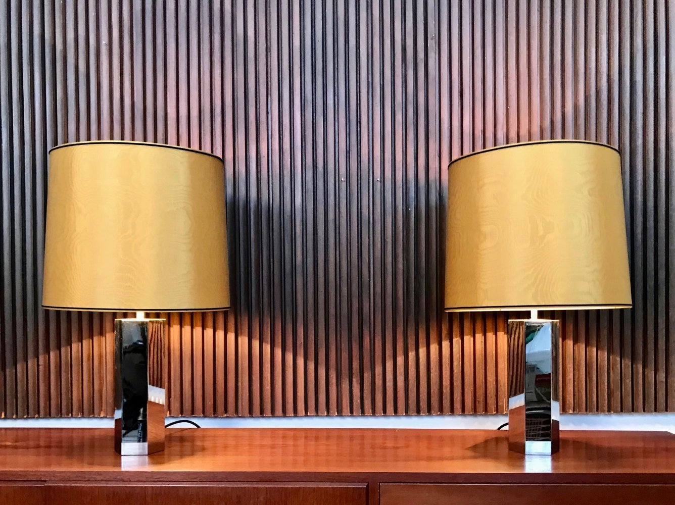 Pair of German Chromed Table Lamps by Ingo Maurer for Design M, 1960s