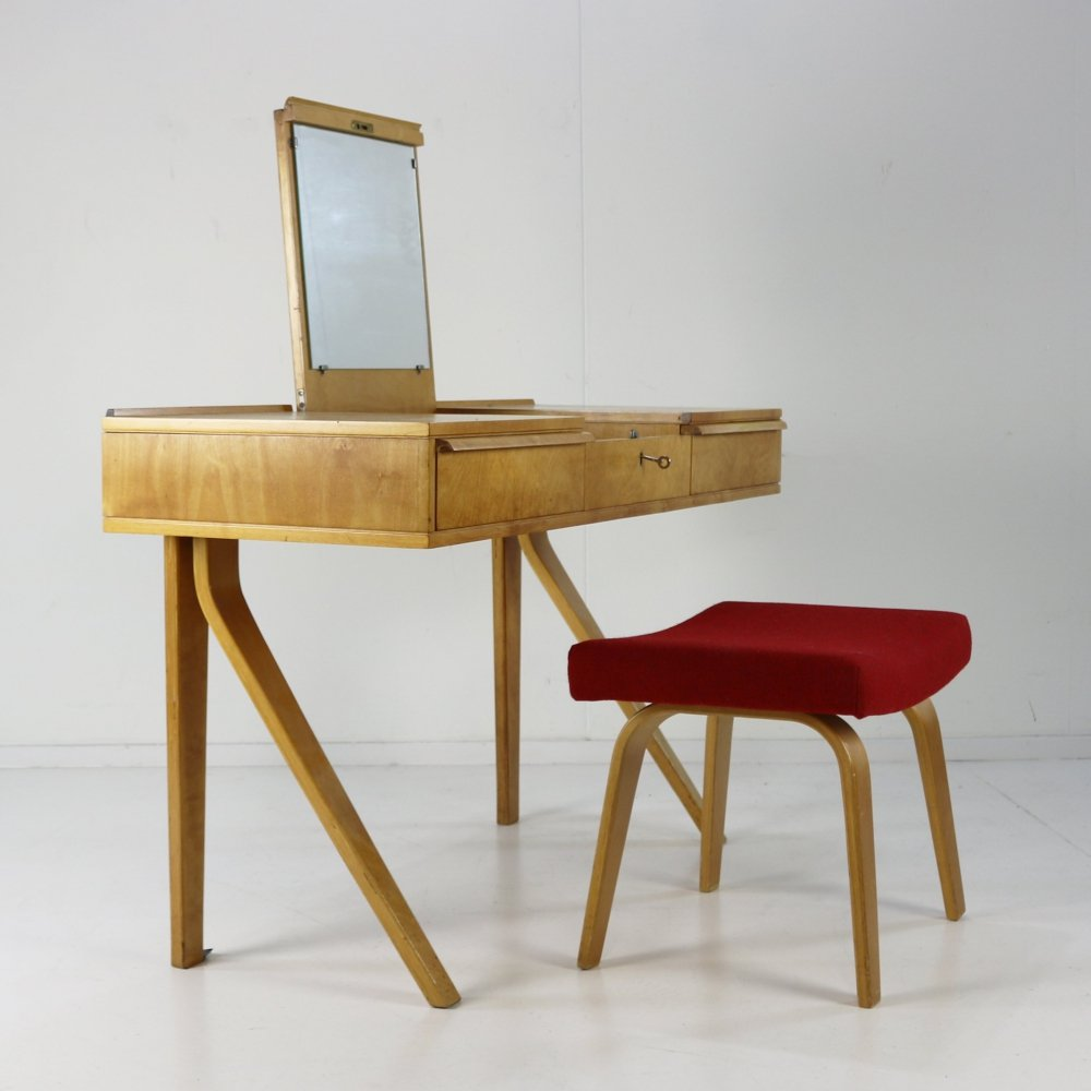 Dressing table & settee in birchwood by Cees Braakman for UMS Pastoe, 1951