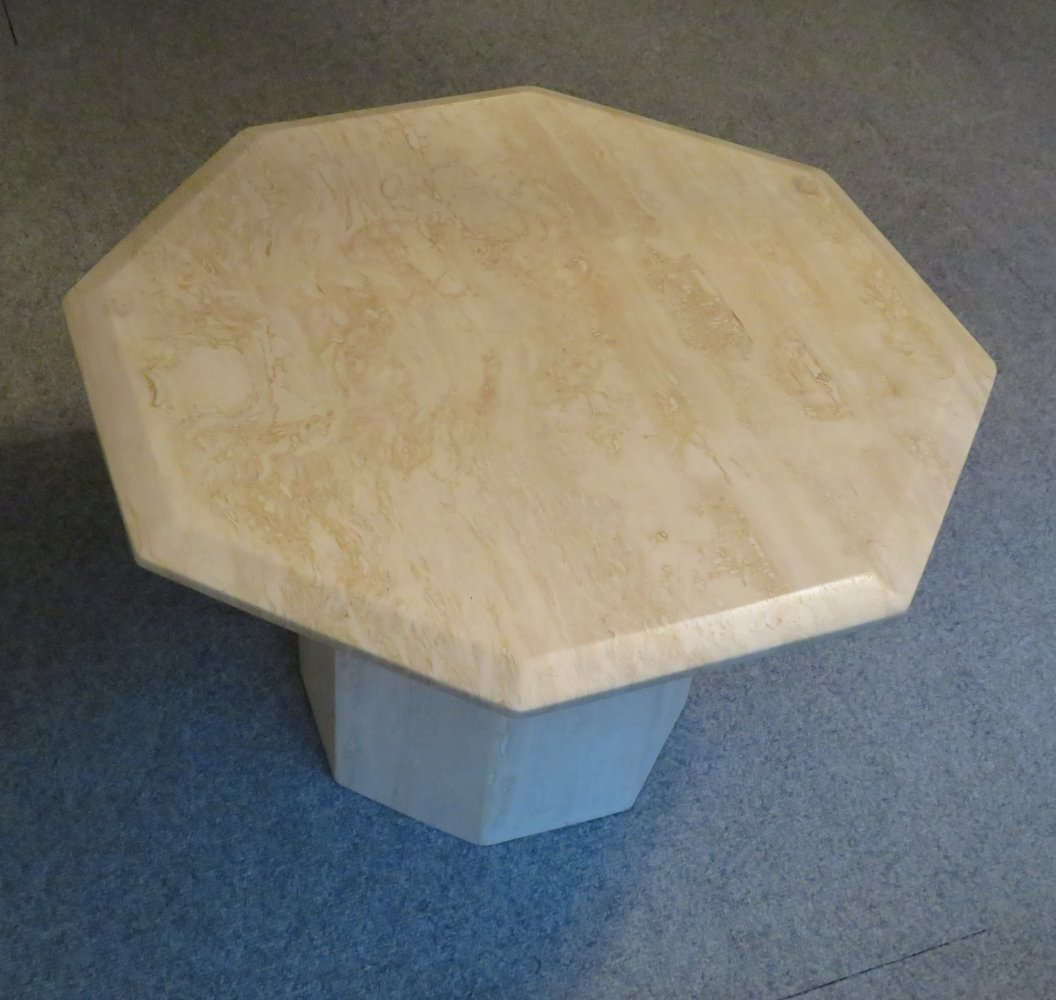 Marble, travertine coffee or side table with octagonal base & top