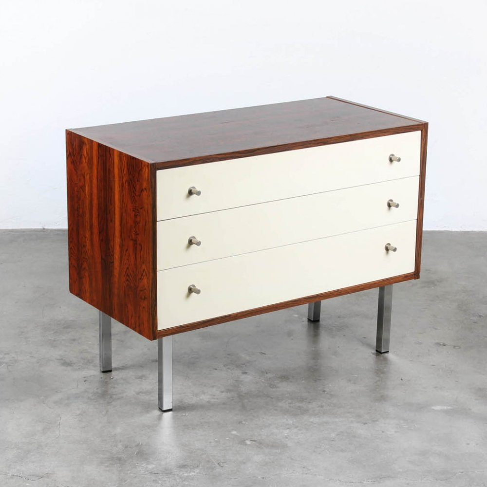 Chest of Drawers in rosewood & white laminate, 1960s