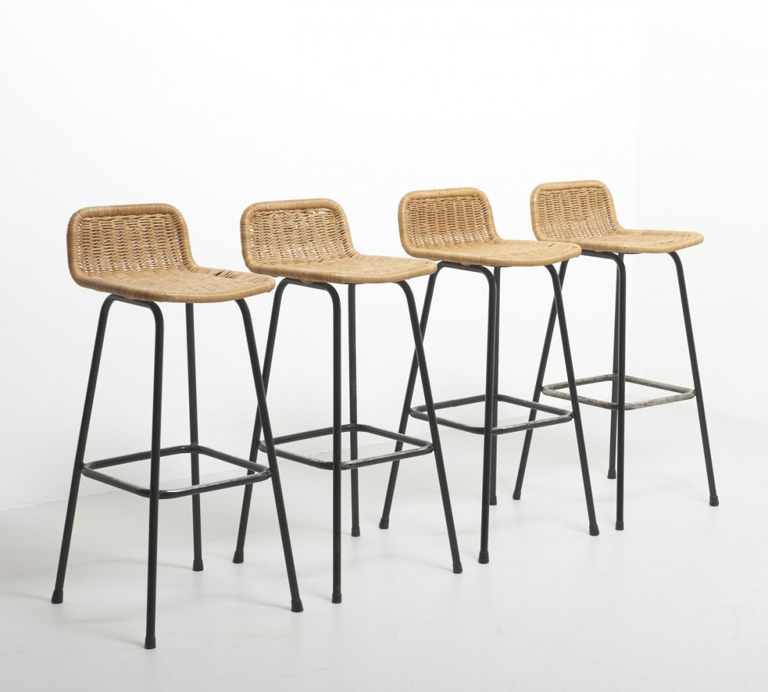 Image of: Set Of 4 Rattan Bar Stools By Rohe Noordwolde Netherlands 1960 S 145434