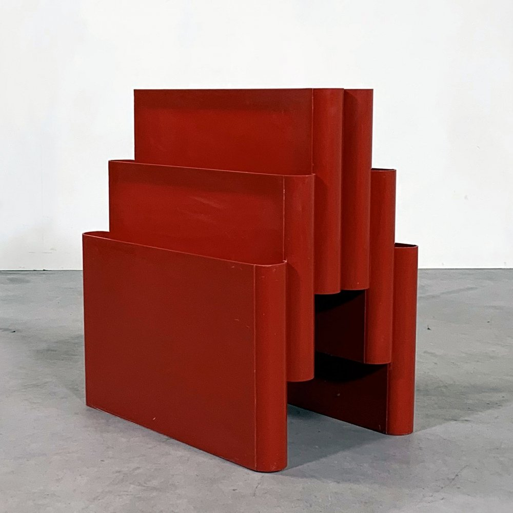 Red Magazine Rack by Giotto Stoppino for Kartell, 1970s