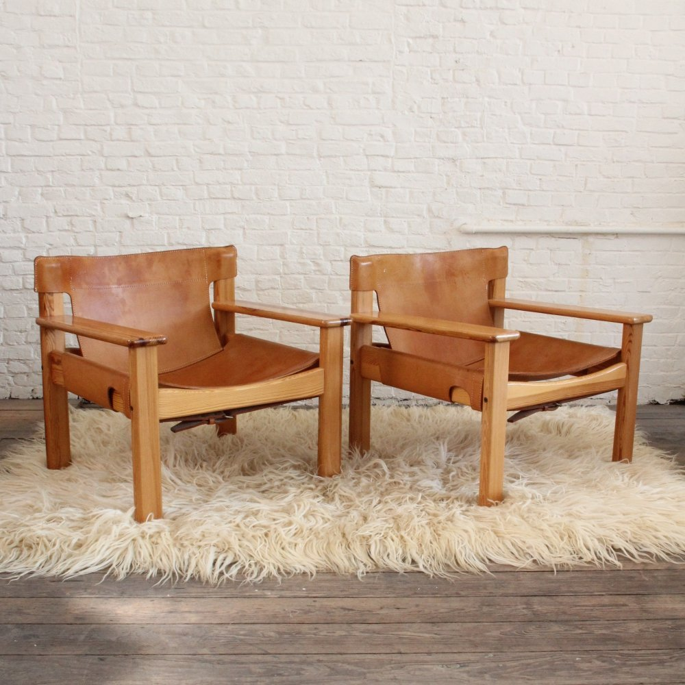 Pair of cognac leather Safari Chairs by Karin Mobring, 1970s