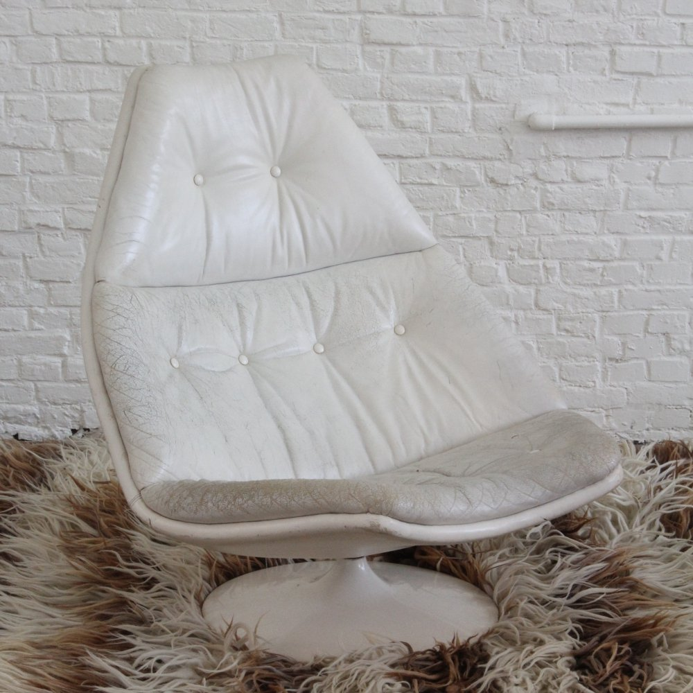 White Leather F588 by Geoffrey Harcourt for Artifort, 1960s