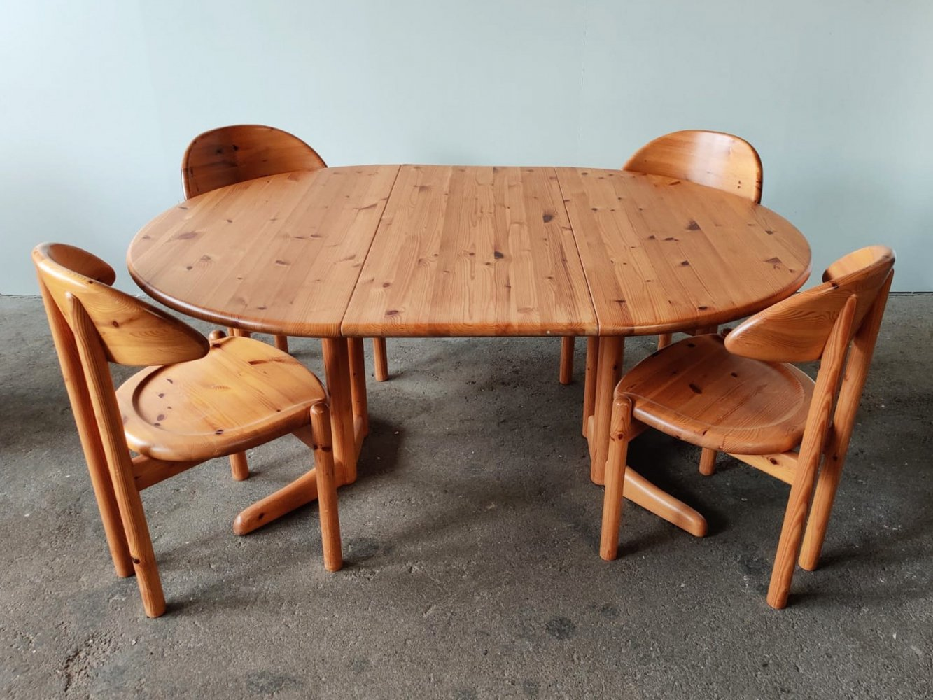 Danish Vamdrup dining set with an extendable table & four matching solid pine chairs