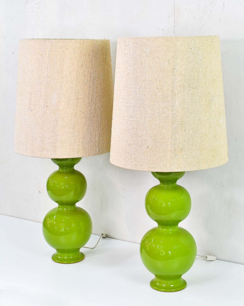 Pair of Green Ceramic XL Bubble Lamps
