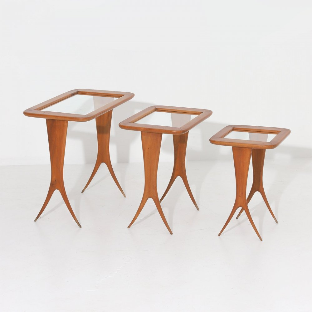Set of three highly decorative nesting tables, 1950s