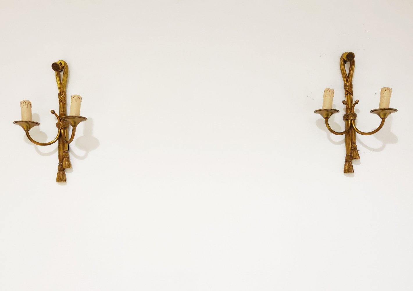 Pair of gilt metal rope wall lamps, 1960s