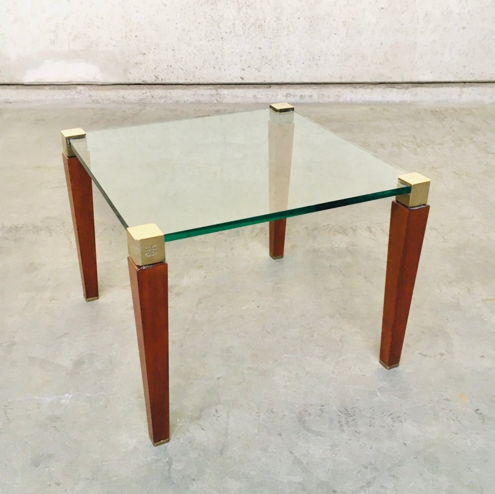 Modernist Design Brass, Wood & Glass Side Table by Peter Ghyczy, 1980
