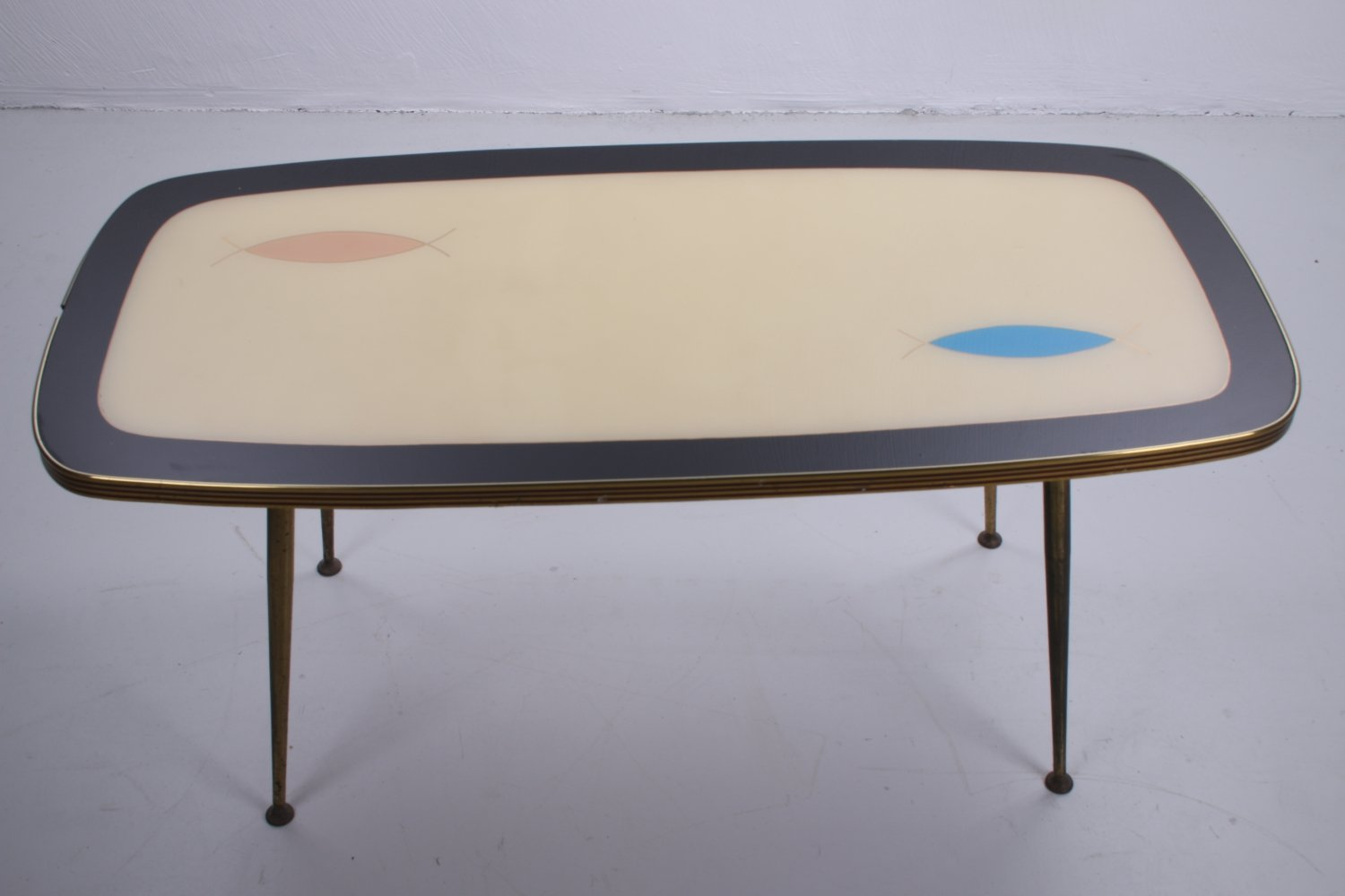 Vintage coffee table with glass top, 1960s