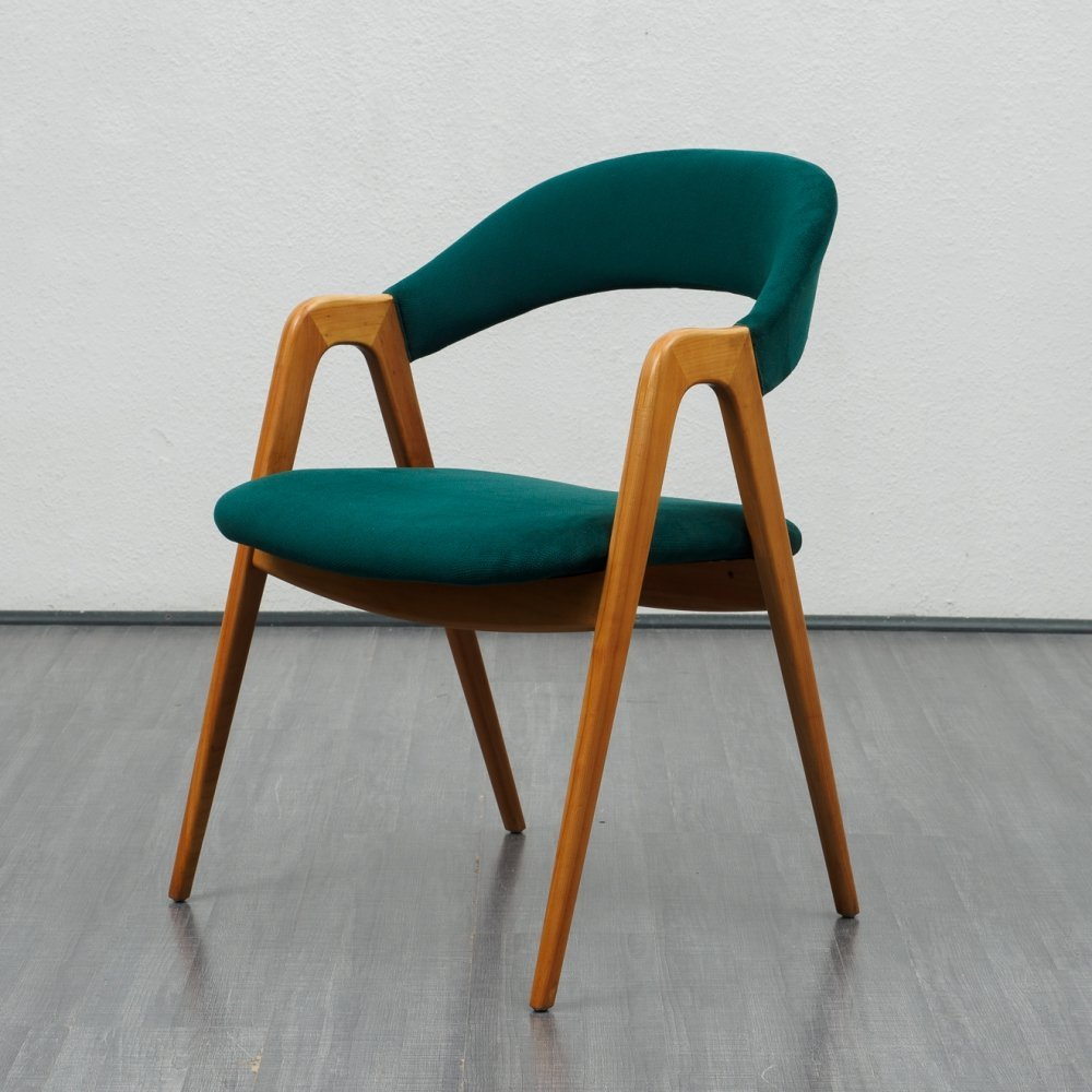 Mid Century shapely green armchair by WK Möbel, 1960s