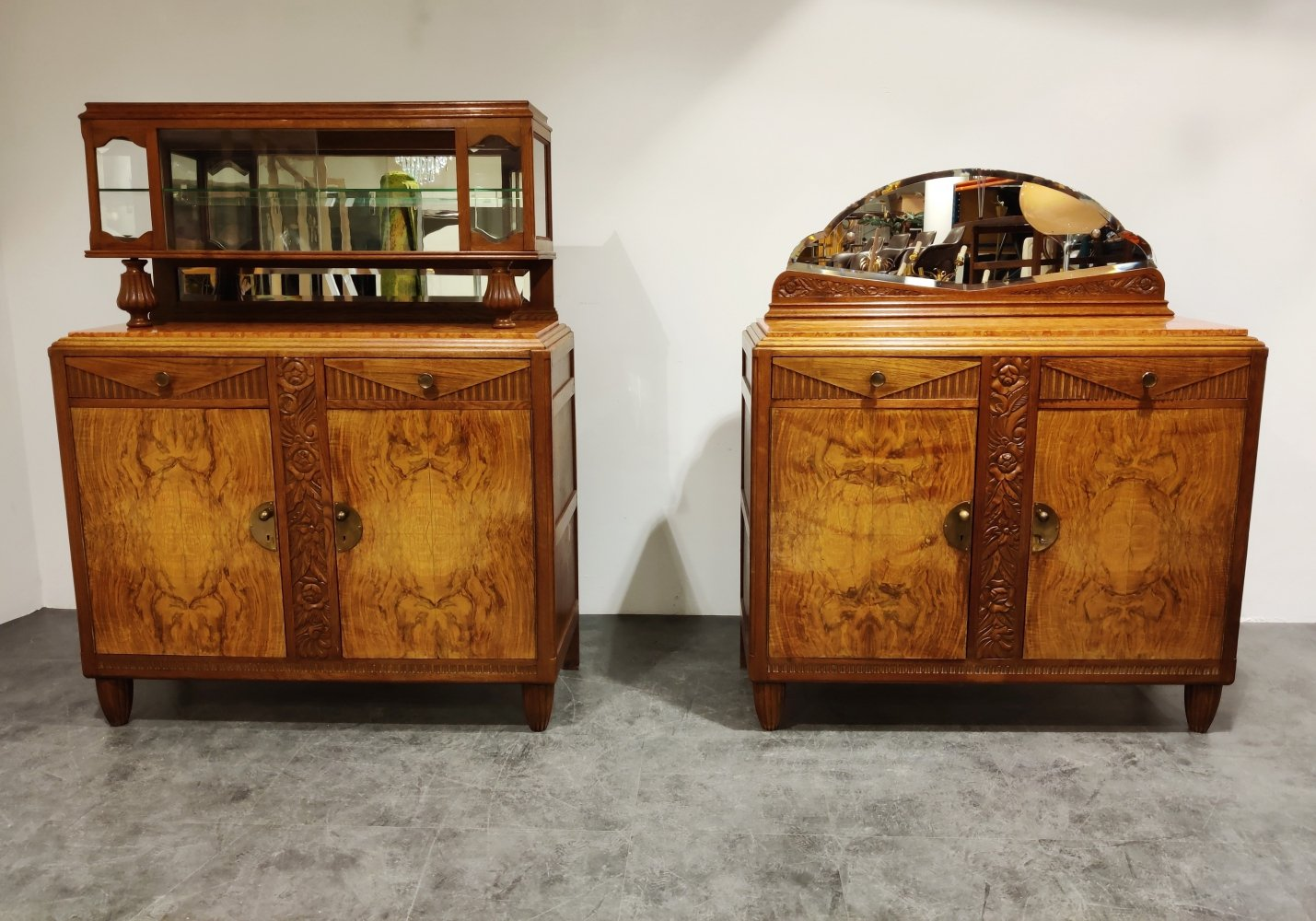 Pair of Amsterdam school cabinets, 1930s