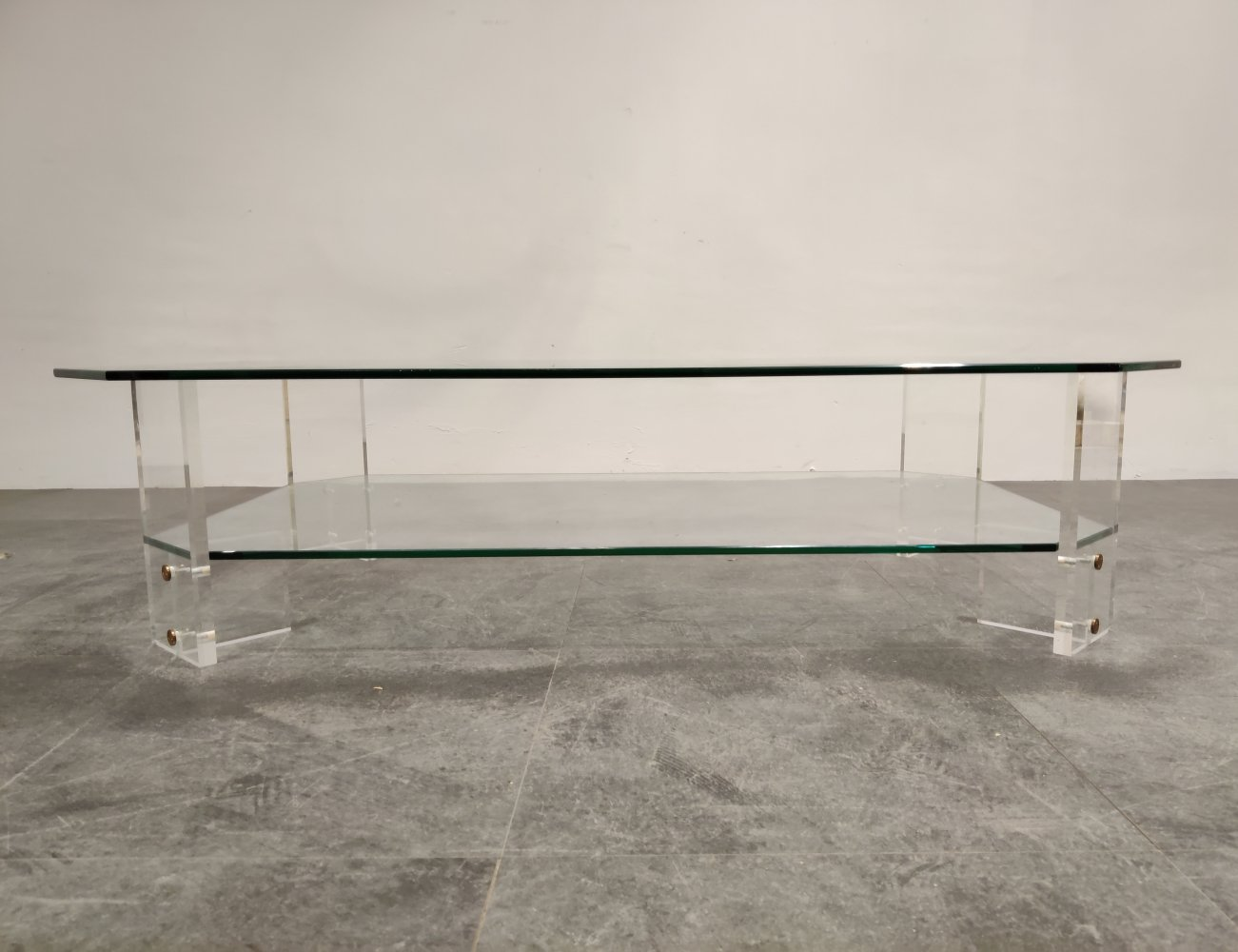 Lucite & glass coffee table, 1970s