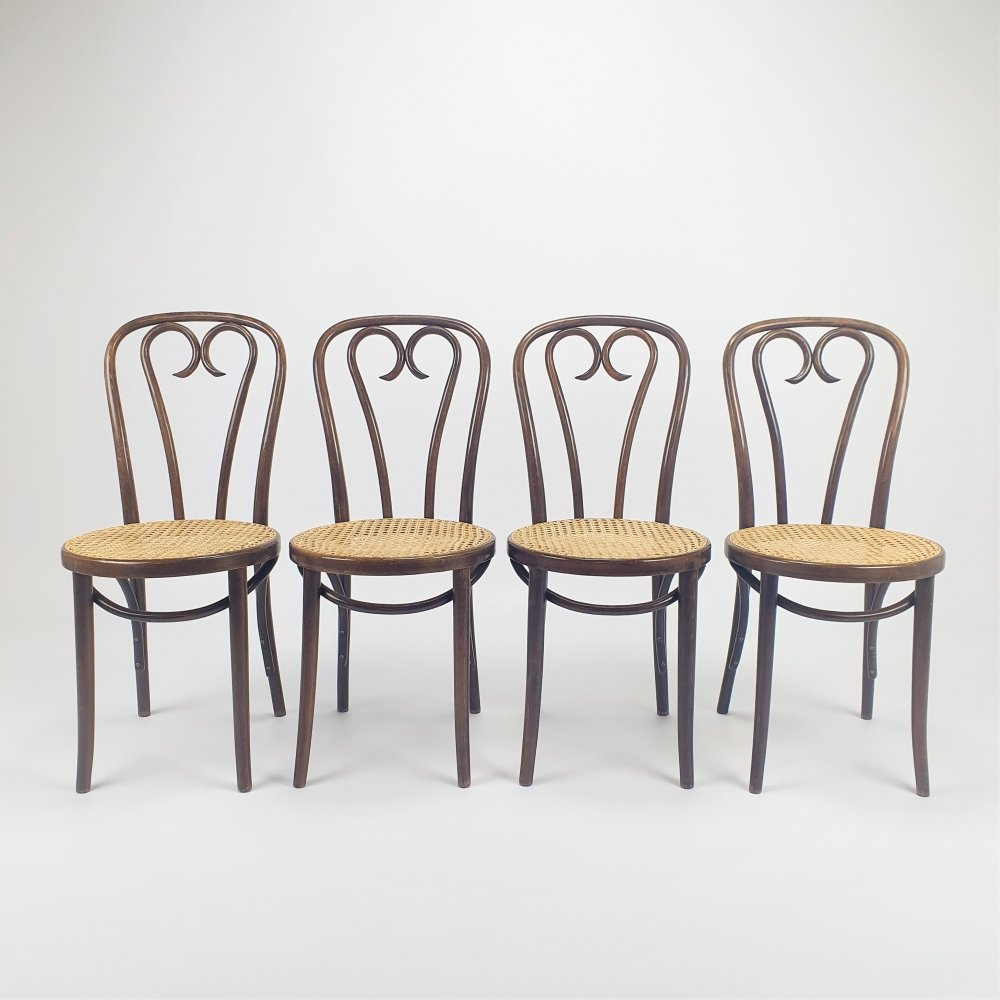 Set of 4 Mid Century Bentwood & Cane dining chairs by ZPM Radomsko, 1960s