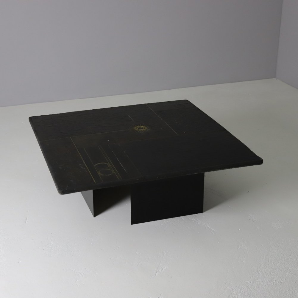 Coffee table in dark slate with brass inlays by Paul Kingma, 1970s