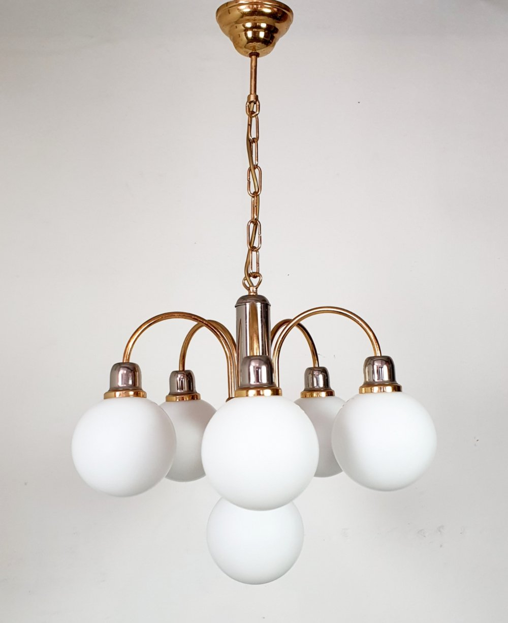 Mid century brass ceiling light with opaline shades