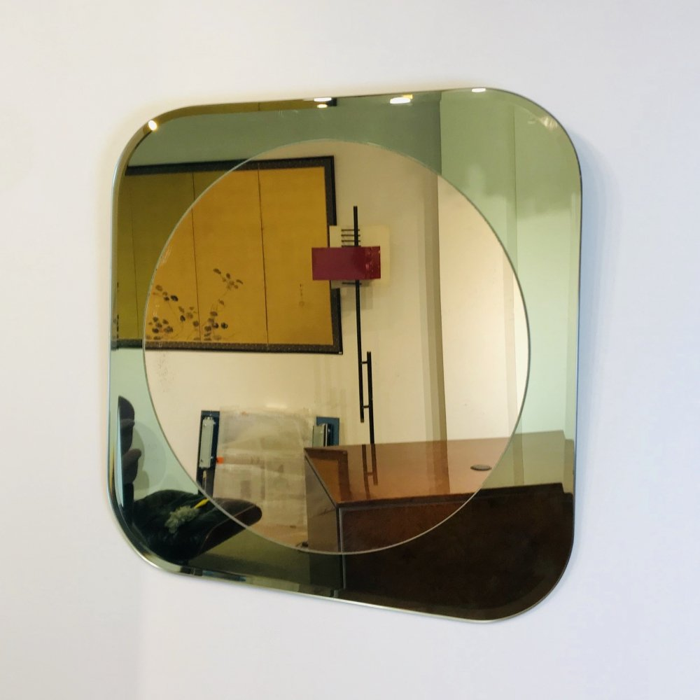 Mirror in Green Cut Glass, Italy 1980