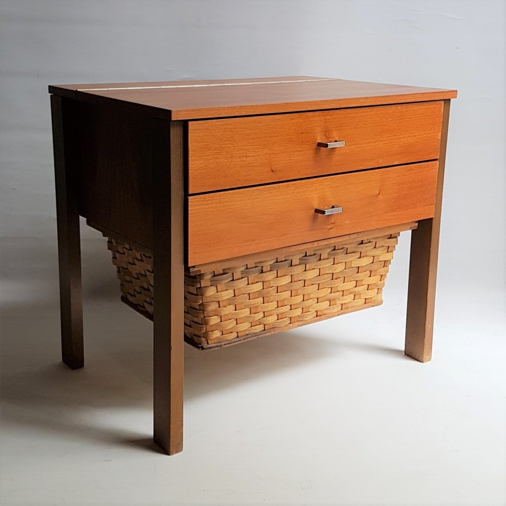 Sewing cabinet with reed basket by Horn Collection, West Germany 1950s
