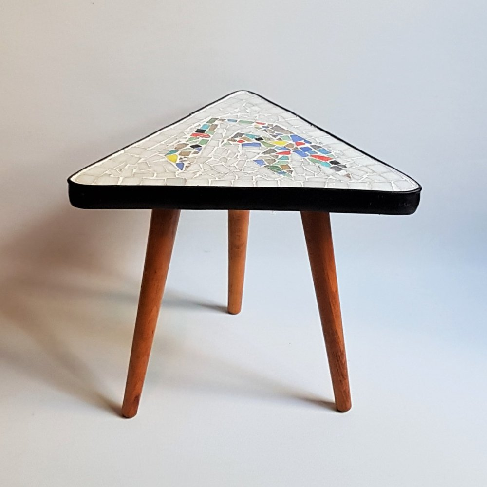 Vintage triangle side table with mosaic top, 1950s