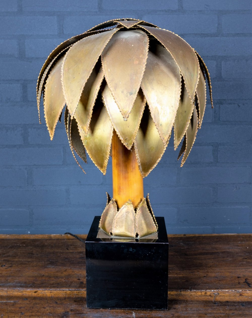 Maison Jansen Palm Desk lamp, 1970s