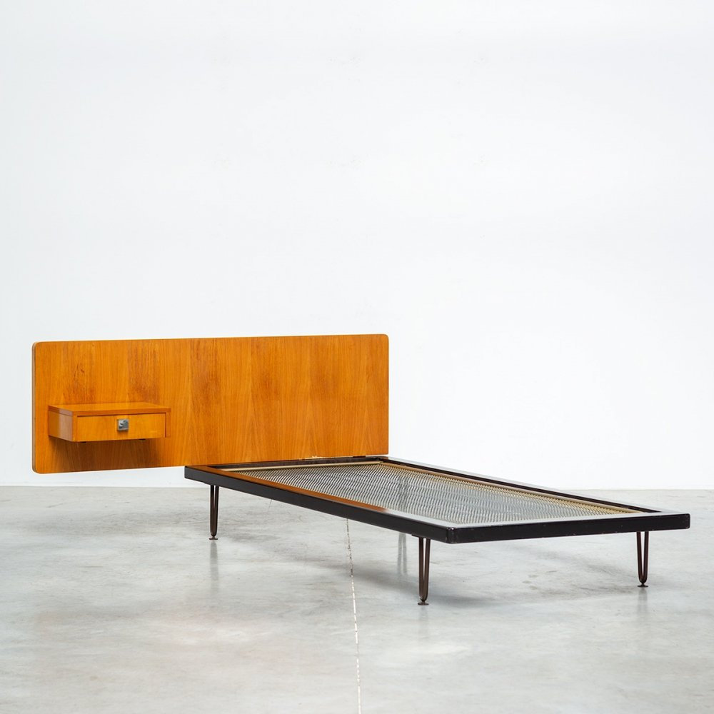 Alfred Hendrickx for Belform Single bed with wall panel & drawer, 1950