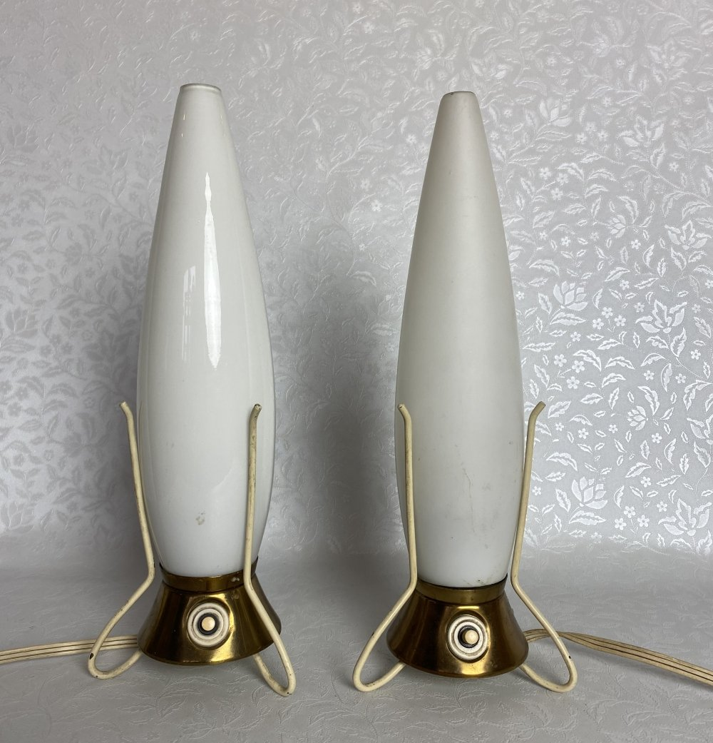 Vintage Space Age Rocket bedside table Lamps by Leoš Nikel for Zukov, 1950s