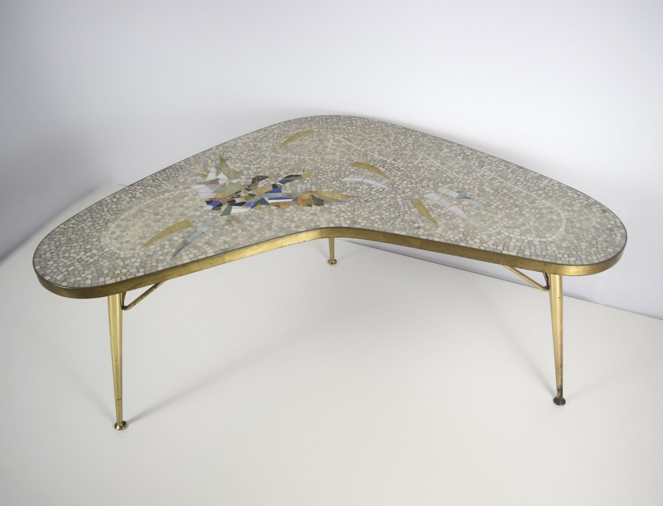 Mosaic & Brass Coffee Table by Berthold Muller-Oerlinghausen, Germany 1950