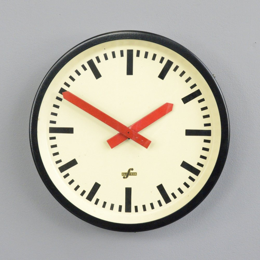 Red Handed Textile Factory Clock, Circa 1960s