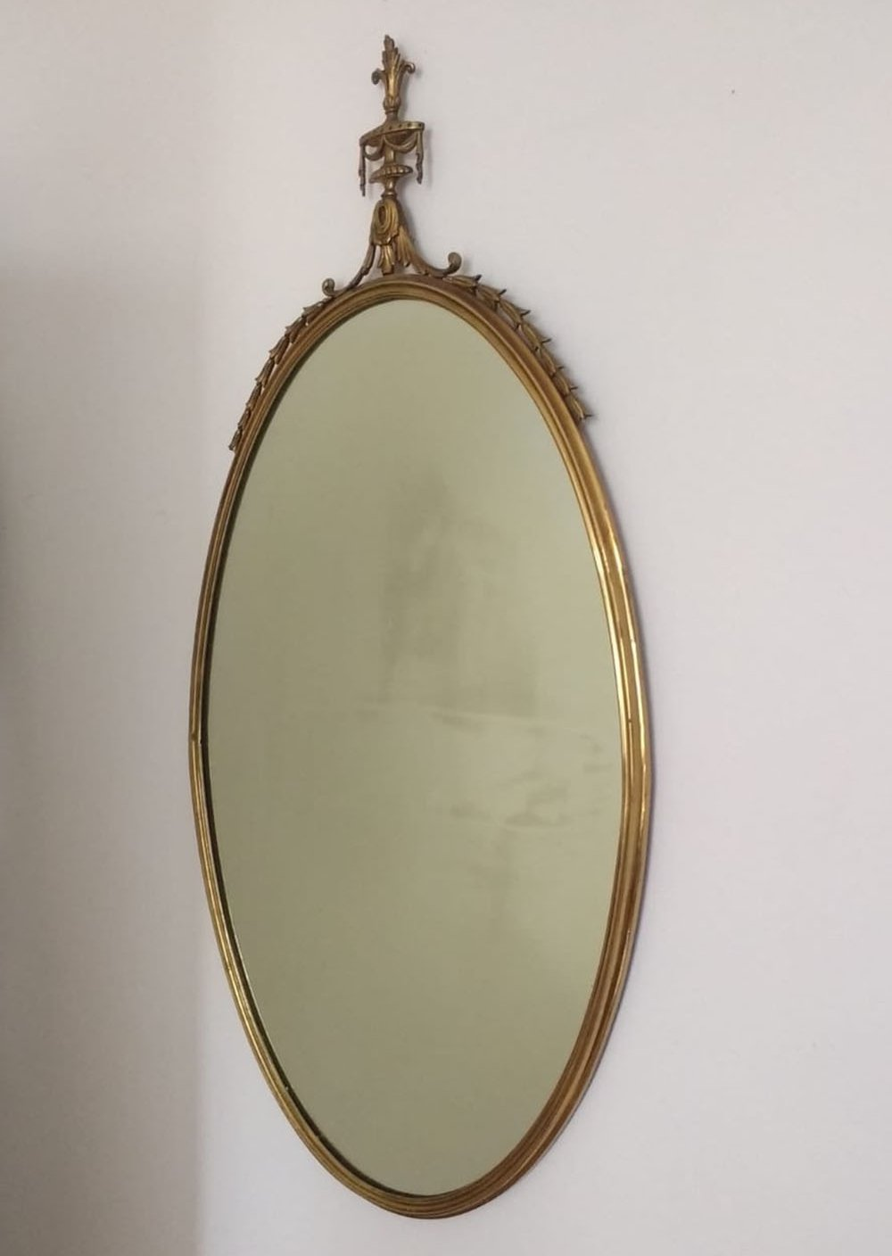 Italian mid-century mirror in solid brass