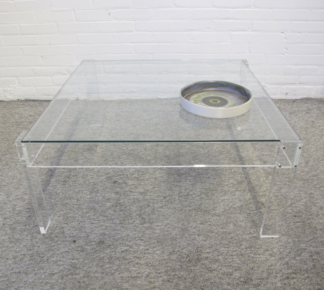 Vintage Lucite & glass coffee table, 1970s