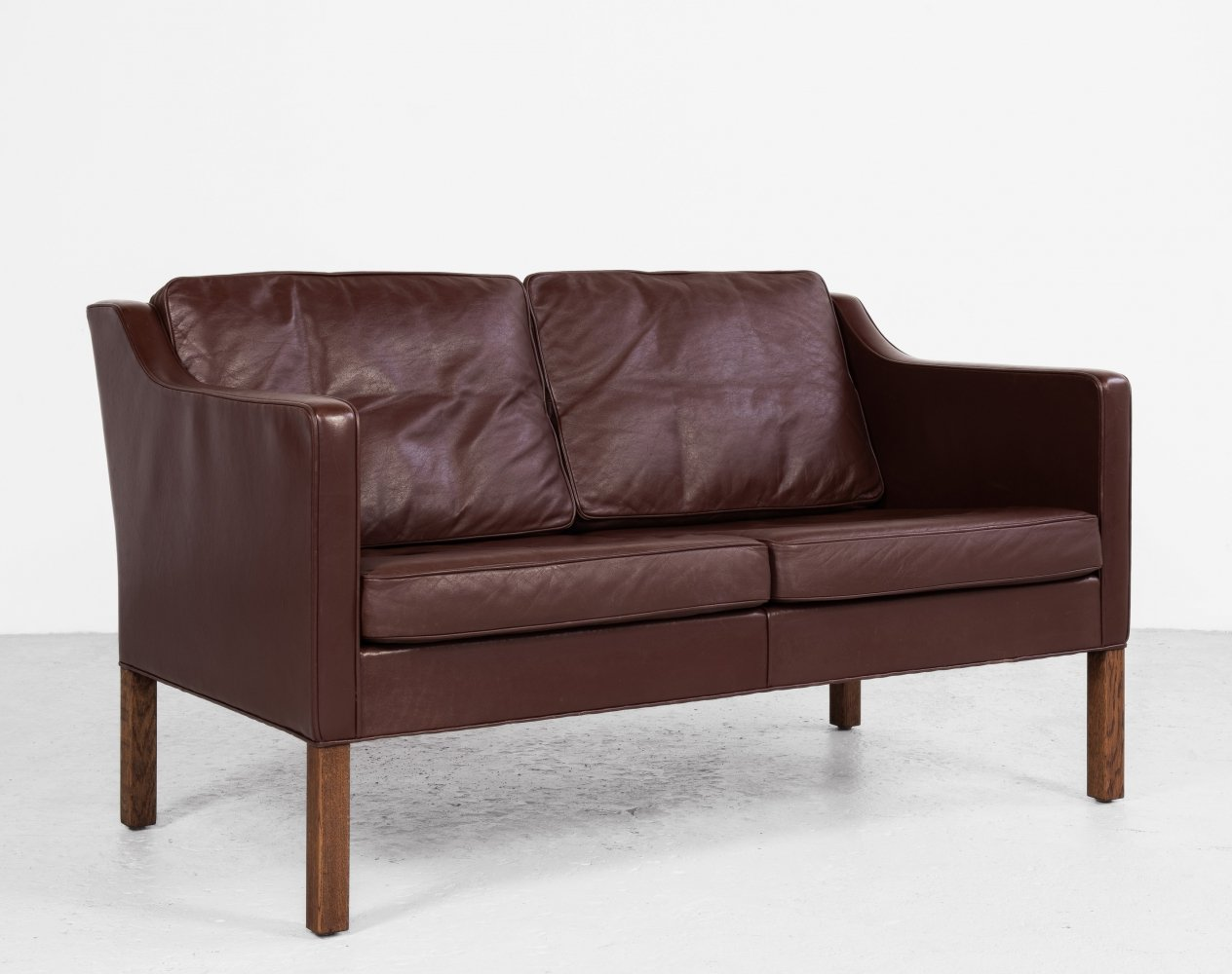 Midcentury Danish 2-seater sofa in leather by Børge Mogensen for Fredericia