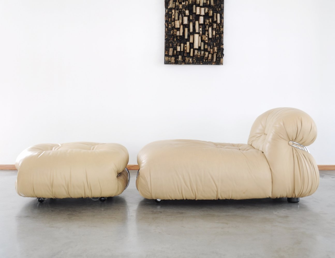 1970s Tobia & Afra Scarpa Soriana chaise longue & ottoman for Cassina