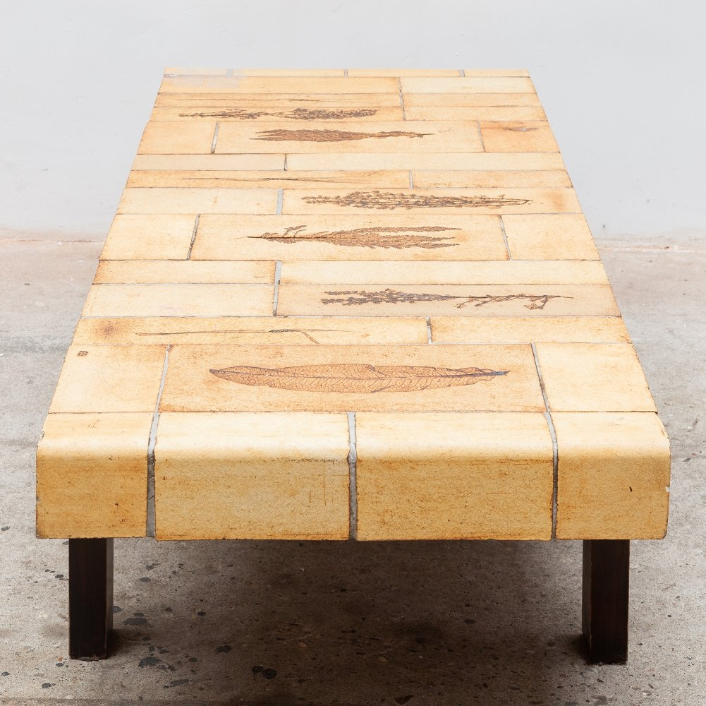 Rectangular Coffee Table with Ceramic Tiles by Roger Capron, France