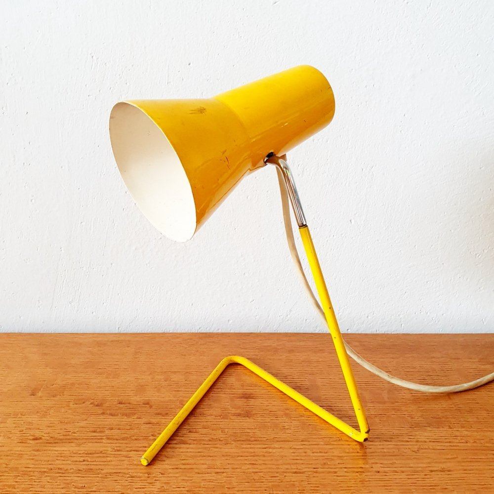 Small yellow metal table lamp by Josef Hůrka for Drukov, 1960s