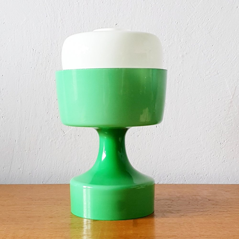 Green & white glass table lamp by Ivan Jakeš, 1960s