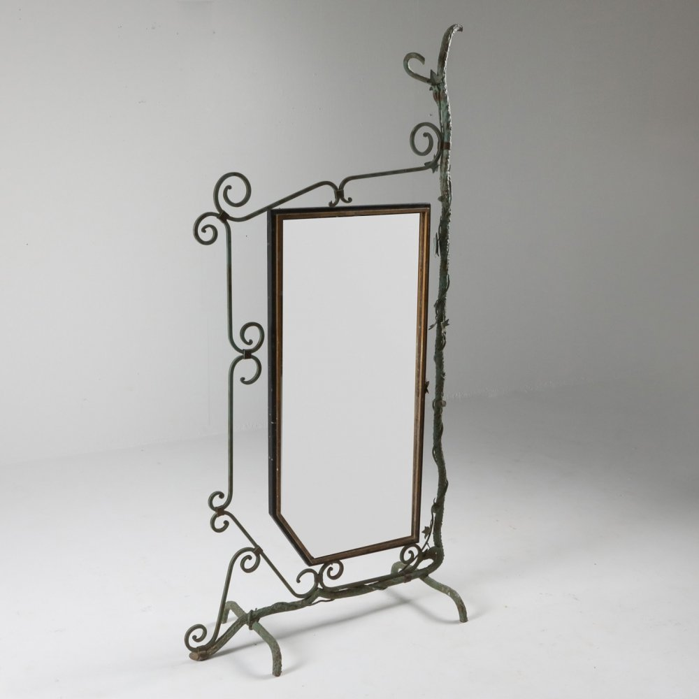Bronze, Brass & Forged Steel Decorative Floor Mirror, 1920s
