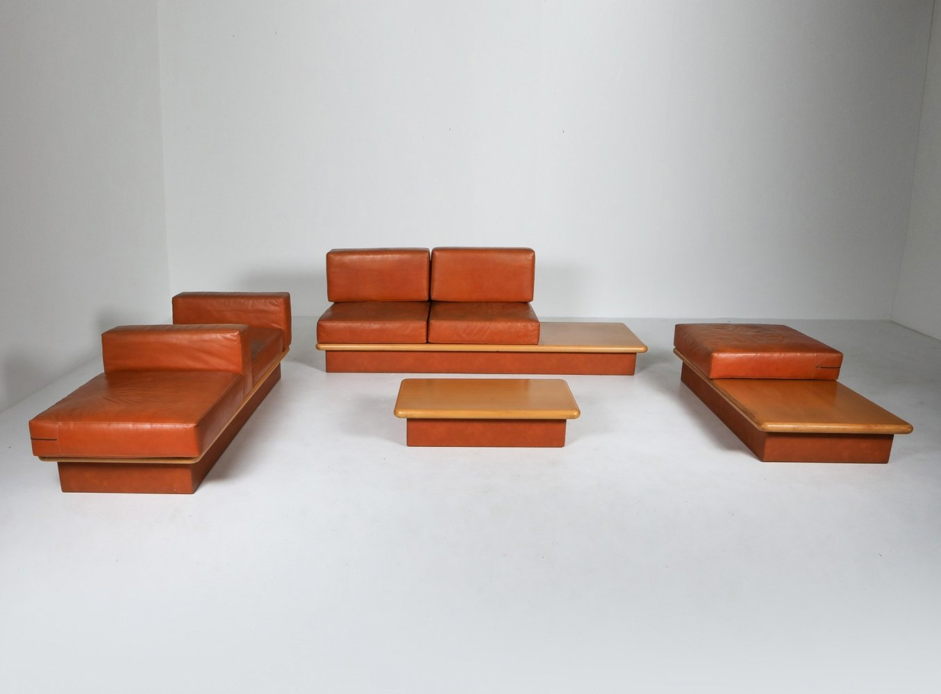 Beech & leather living room set by Mario Marenco, Italy 1970