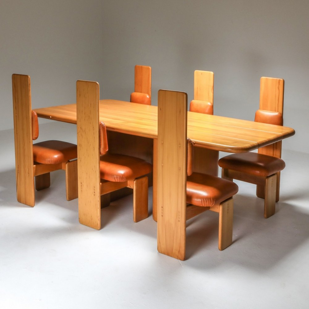 Beech & Leather Dining Room set by Mario Marenco, Italy 1970s