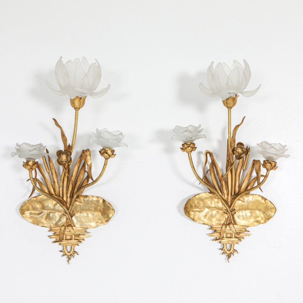 Art Nouveau gilded bronze sconces, 1910