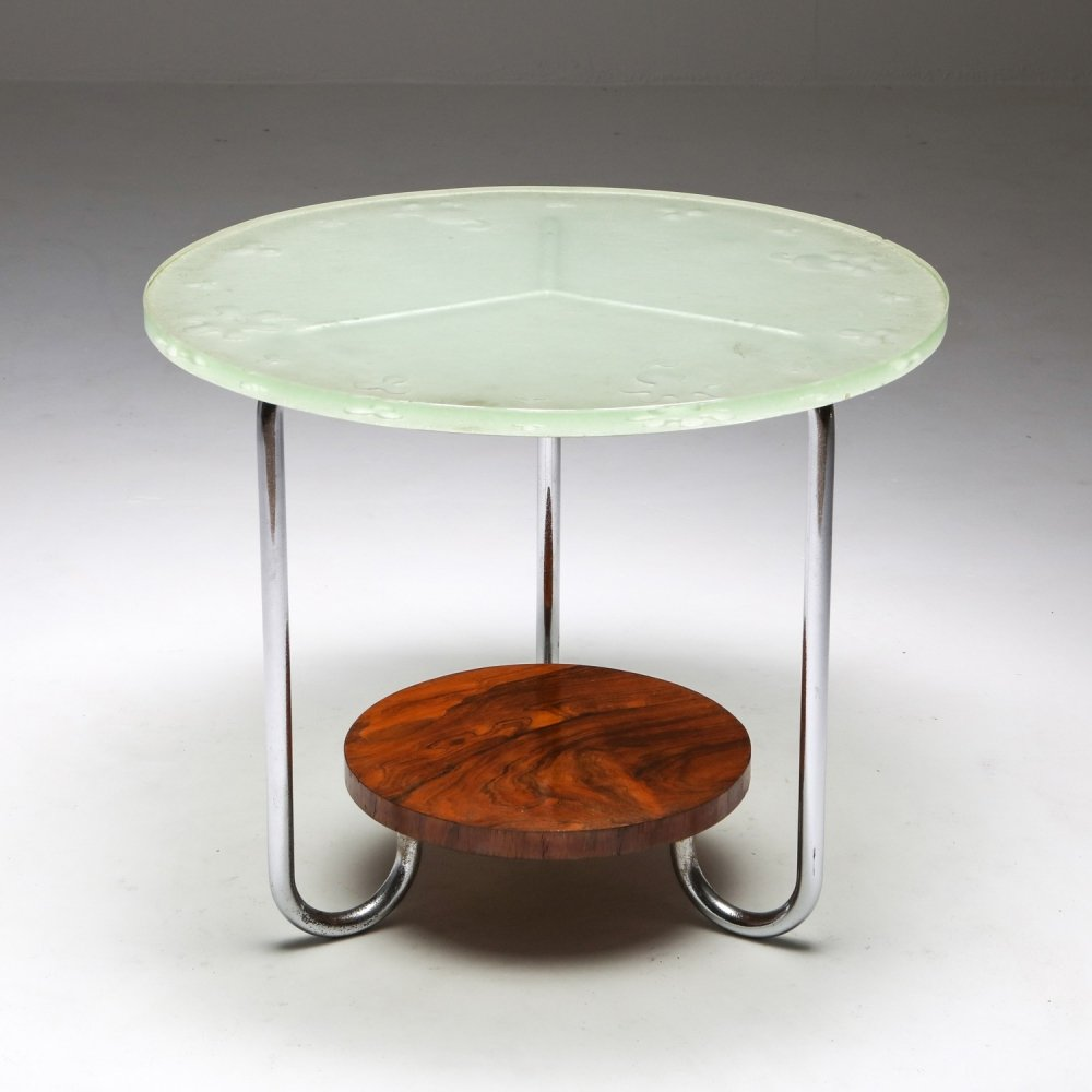 Art Deco Occasional Table with Thick Etched Glass Top, 1930