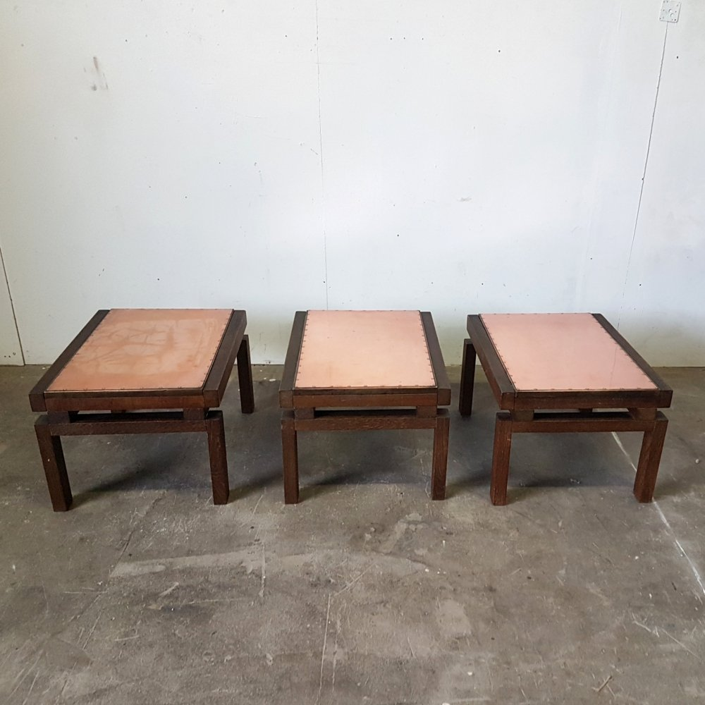 Custom made brutalist side table with riveted copper top, 1970s