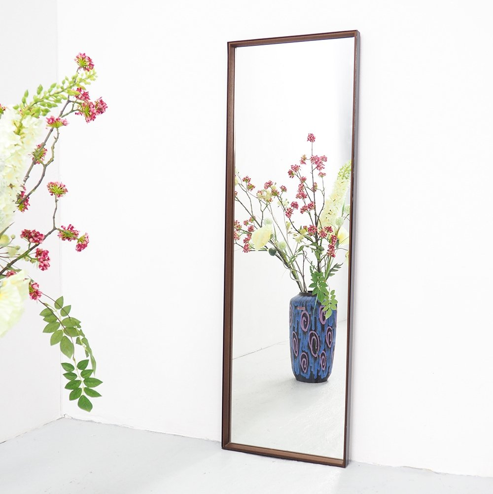Large vintage metal & teak mirror, 1960