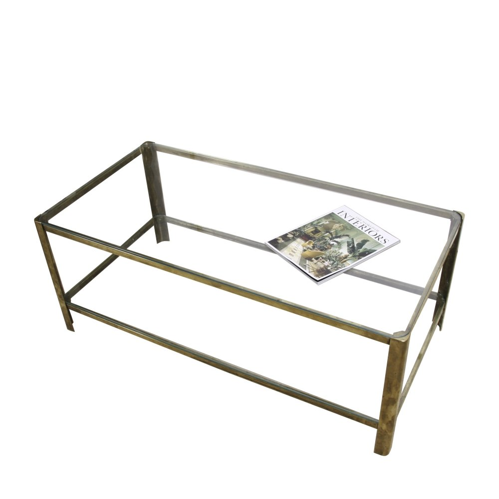 Jacques Quinet 1960s Glass & Brass Coffee Table