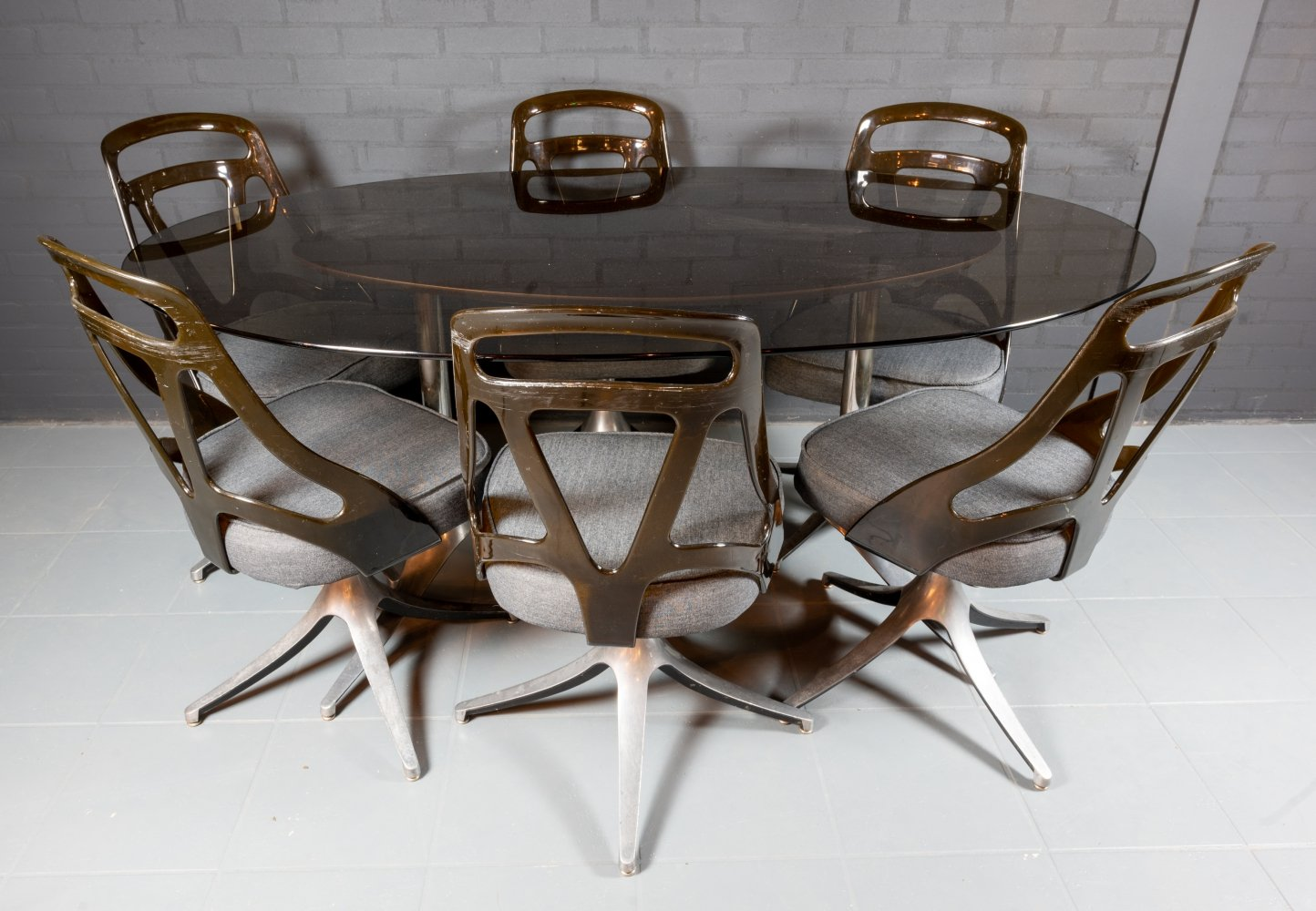 Retro dining set with 6 chairs by Chromcraft, USA 1970s