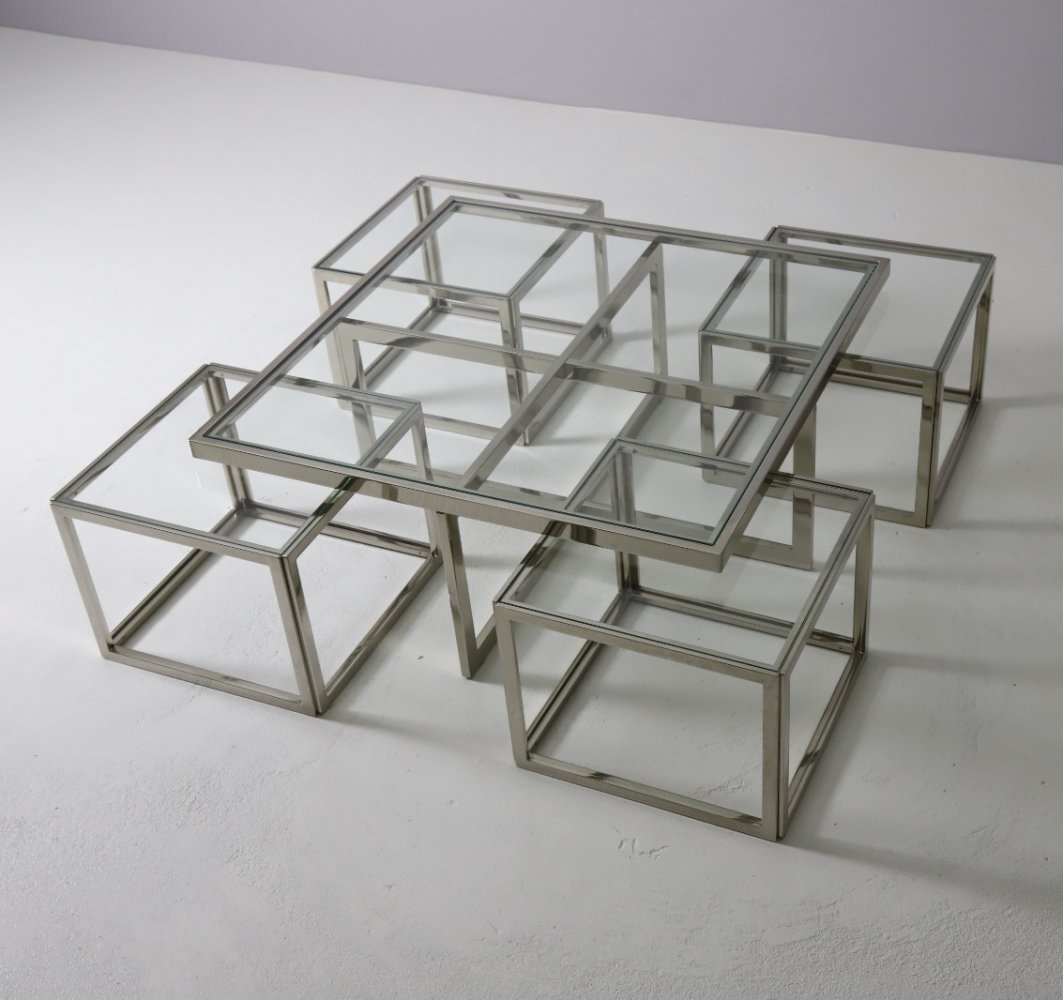 Large modular coffee table by Maison Charles, France 1960s