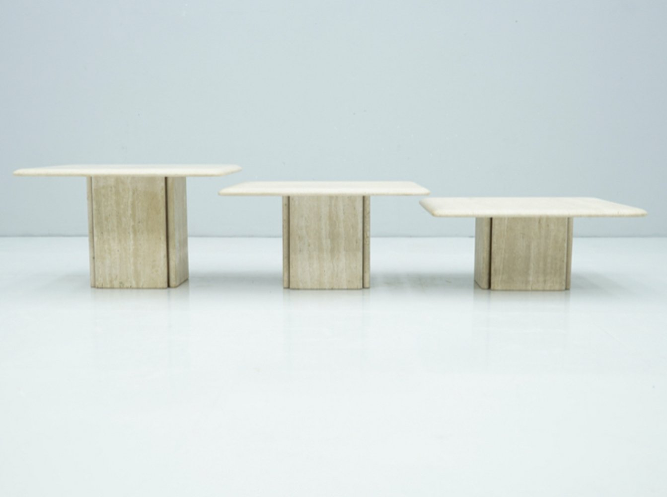 Set of three Travertine Side or Coffee tables, 1970s