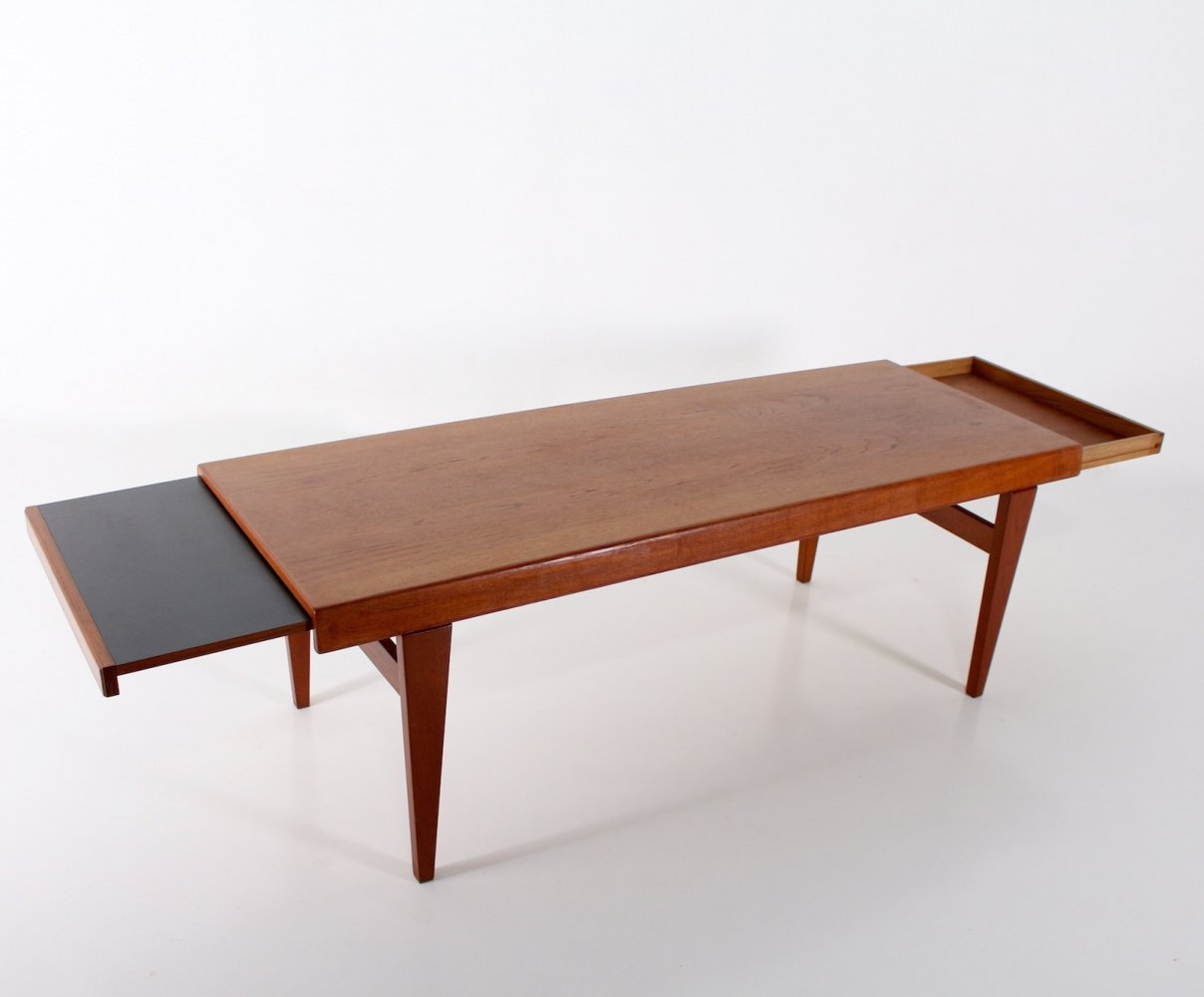 Teak danish retractable coffee table by Niels Bach, 1960