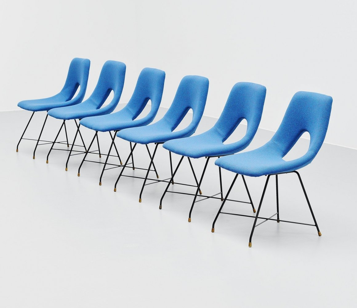 Set of 6 Augusto Bozzi cosmos dining chairs by Saporiti Italy, 1954