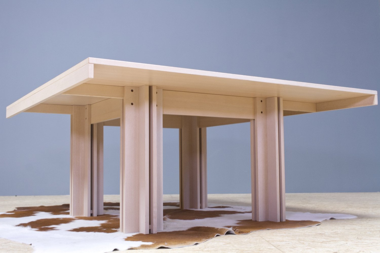 Square 'Quatour' dining table by Carlo Scarpa in white washed oak, 1974