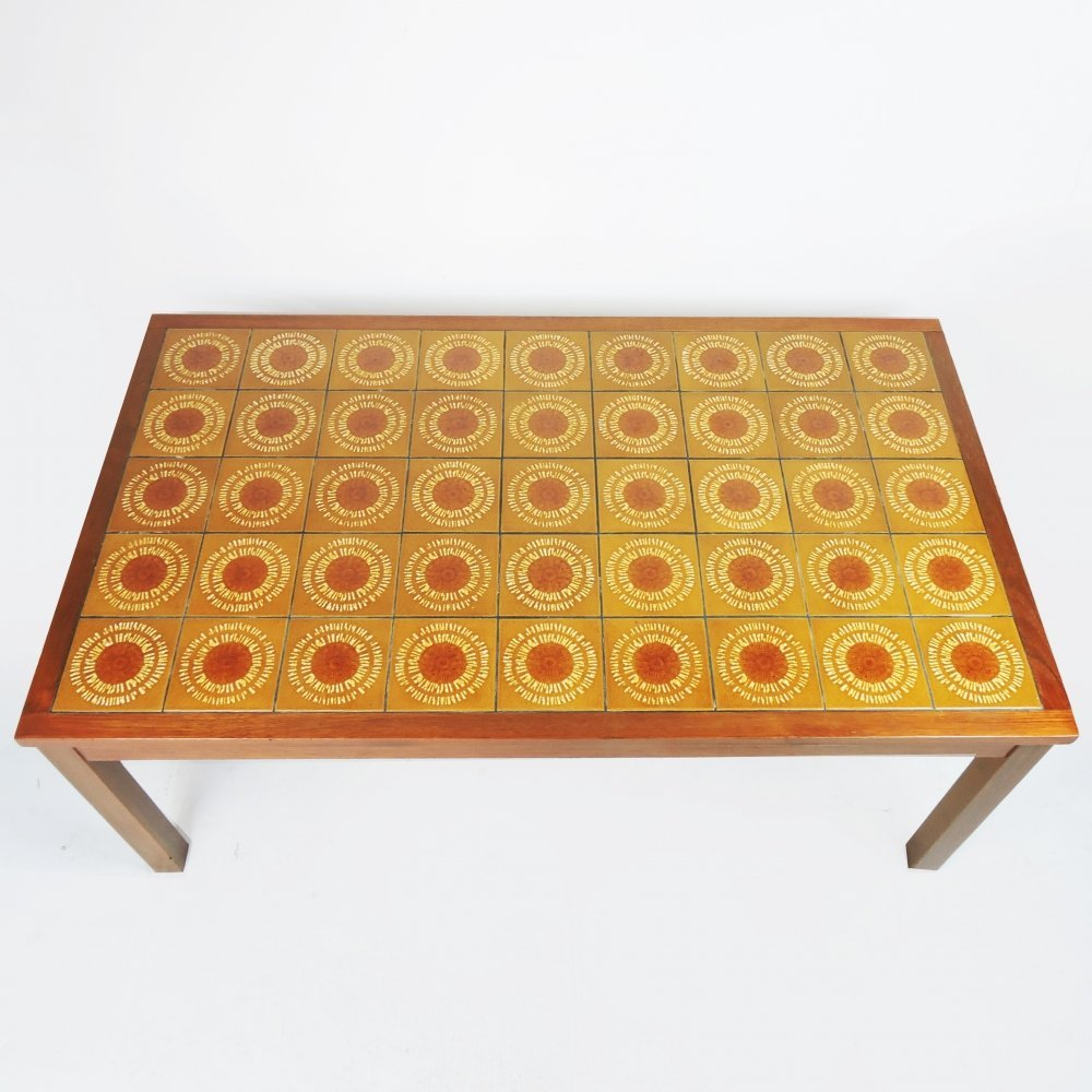 Wooden & Decorative Yellow Ceramic Tiled Coffee Table, 1970s